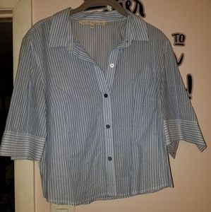 Cropped button down striped shirt